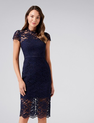Forever New Piper Cap Sleeve Lace Dress - Navy - 4
