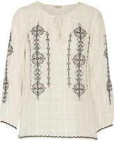 Joie Lemay embroidered cotton-gauze top