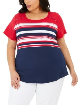 Karen Scott Plus Size Isabella Striped Top, Created for Macy's