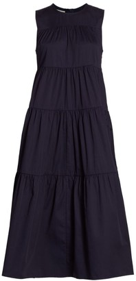 Co Sleeveless Tiered Poplin Midi Dress