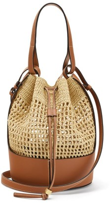 Loewe Raffia And Leather Balloon Bag