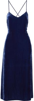 Reformation Moore Open-back Crushed-velvet Midi Slip Dress