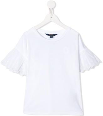 Ralph Lauren Kids broderie anglaise sleeve T-shirt