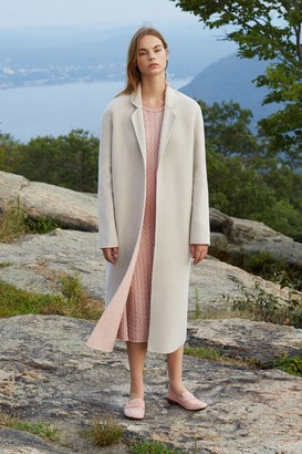 Mansur Gavriel Bicolor Wool Narrow Buttonless Coat - Beige/Blush