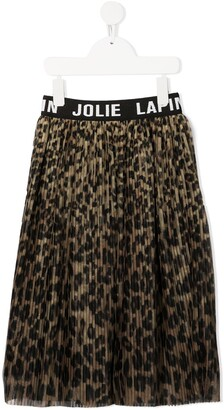 Lapin House Leopard Print Pleated Skirt