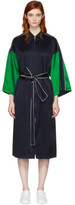 Opening Ceremony Reversible Navy Silk Kimono Robe Coat