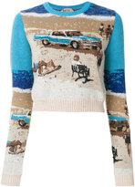 No.21 cropped intarsia knit jumper
