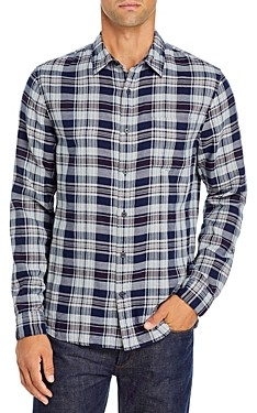 Vince Double Face Plaid Slim Fit Button Down Shirt