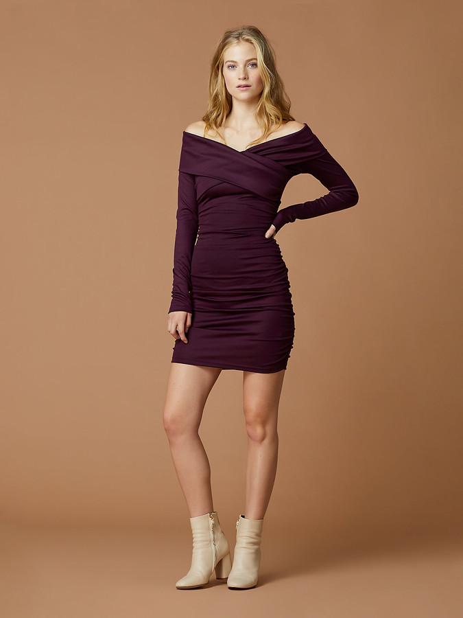 Diane von Furstenberg Off Shoulder Ruched Mini Dress