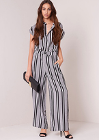 Missy Empire Olivia White And Black Striped Wide Leg Jumpsuit