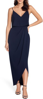 Xscape Evenings Scuba Crepe Popover Faux Wrap Gown