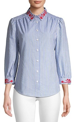 Draper James Embroidered Striped Button-Down Shirt
