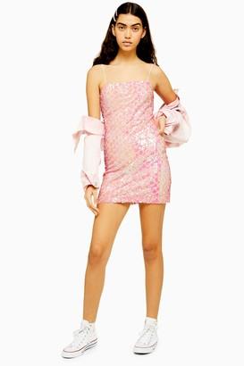 Topshop Womens Pink Diamond Sequin Mini Dress - Pink