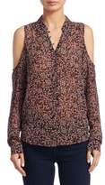 Paige Bellini Cold Shoulder Floral Silk Blouse