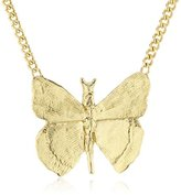 Wouters & Hendrix Women's Yellow Gold Plated 925 Sterling Silver Butterfly Pendant Necklace of 45 cm