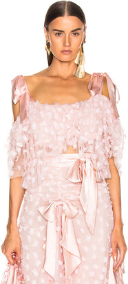 Rodarte Embroidered Bow Tiered Off the Shoulder Blouse in Pink | FWRD