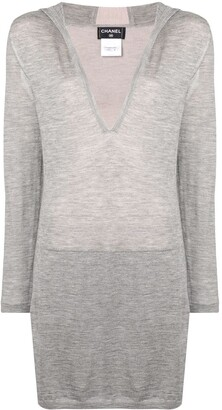 Chanel Pre Owned Hooded Long Sweater