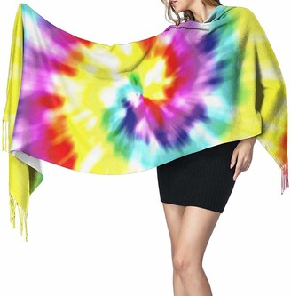 Yjwlo Unique Tye Dye Art Soft Cashmere Shawl Wrap Scarves Long Scarves For Women Office Party Travel 68X196 cm