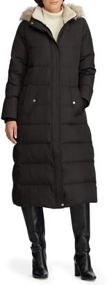 Lauren Ralph Lauren Long Hooded Down & Feather Fill Puffer Coat