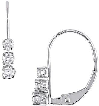 Sonatina 14K White Gold White Diamond Leverback Earrings