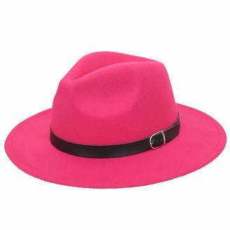 JOYOTER Elegant Wide Brimmed Fedora Hats Women's Stylish Spring Trilby Felt Caps with Belt Hot Pink
