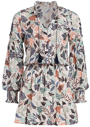 Parker Laura Leaf Print Mini Dress