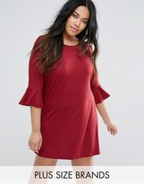 AX Paris Plus Fluted Sleeve Dress