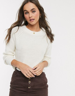 Brave Soul wilfred cropped fisherman rib jumper in ivory-White