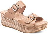 Dansko Selma Leather Double Banded Buckle Platform Slide Sandals