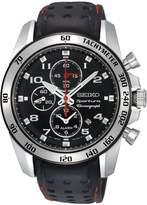 Seiko SNAE65P1,Men's Sportura,Alarm Chronograph,Stainless Steel Case,Leather Strap,SNAE65