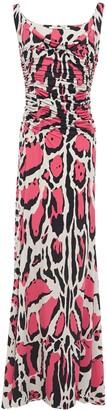 Roberto Cavalli Ruched Leopard-print Stretch-jersey Maxi Dress