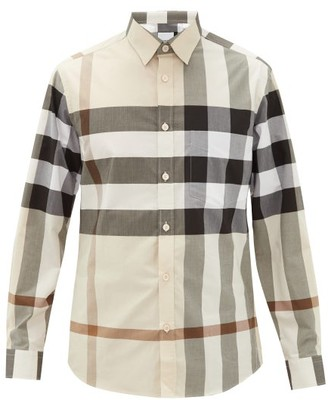 Burberry Somerton Nova-check Cotton-blend Poplin Shirt - Beige Multi