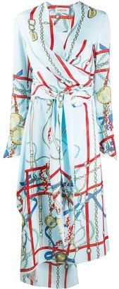 Lanvin Chain Print Wrap Dress