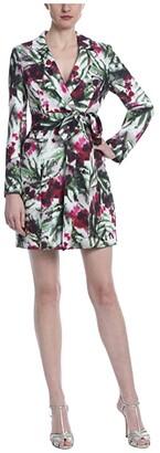 Badgley Mischka Print Suit Dress (Light Ivory/Raspberry) Women's Dress