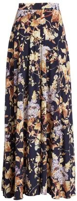 Zimmermann Eye Spy Floral Stretch-Silk Maxi Skirt