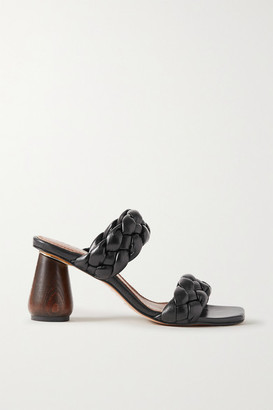 Souliers Martinez Mitjorn Braided Leather Mules - Black