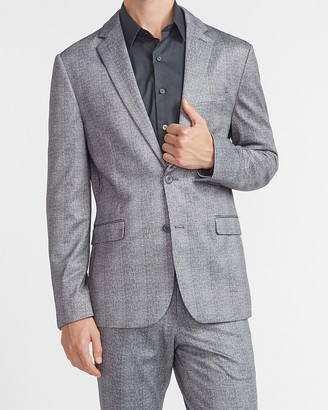 Express Extra Slim Gray Plaid Luxe Comfort Knit Suit Jacket
