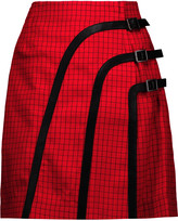 J.W.Anderson Leather-trimmed checked wool and mohair-blend wrap mini skirt