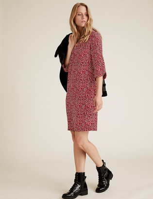 Marks and Spencer Crepe Leaf Print V-Neck Shift Dress