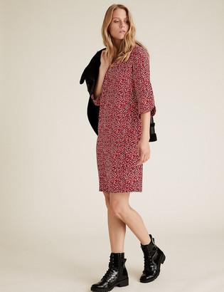 Marks and Spencer Crepe Leaf Print V-Neck Shift Dress