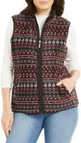 Karen Scott Petite Fair Isle-Print Faux Fur-Lined Vest