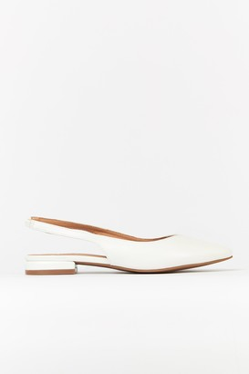 Wallis White Pointed Slingback Flats