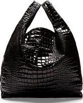 Maison Martin Margiela Black Croc-Embossed Tote Bag