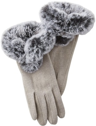 Tickled Pink Accessorie's Classic Winter Gloves with Faux Fur Trim Detail