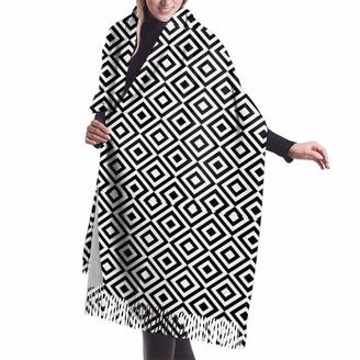Leyhjai Black Line Lattice Fashion Scarf Super Soft Cashmere Pashmina Shawl Cape For Women Girls