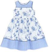 Laura Ashley Stripe Floral Cotton Dress, Toddler & Little Girls (2T-6X)