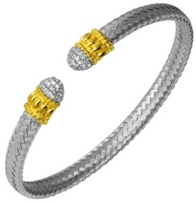 PRIME ART & JEWEL Cubic Zirconia Pave Braided Cuff in Sterling Silver
