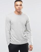 Asos Crew Neck Sweater in Gray Marl Cotton