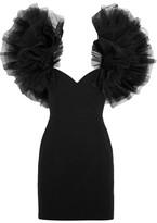 Saint Laurent Tulle-trimmed Wool-crepe Mini Dress - Black