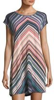 Jets Chevron-Striped Scoop-Neck Coverup Dress